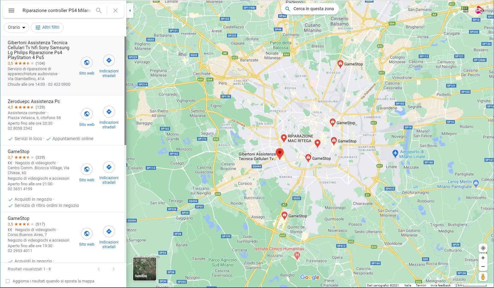 Google maps, riparazione controller PS4