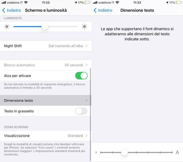 Cambiare grandezza carattere iPhone