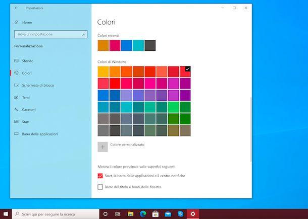 Cambiare colore barra applicazioni Windows 10