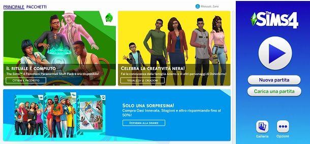 Carica partita The Sims 4