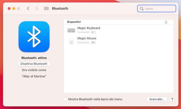 Impostazioni Bluetooth macOS