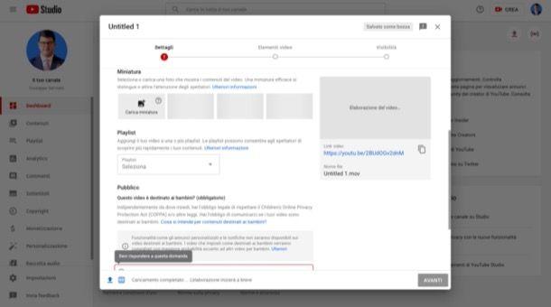 Caricare copertina video di YouTube