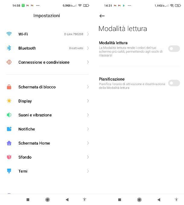 Modalità lettura Android