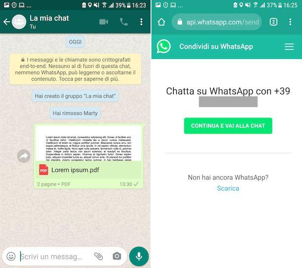 WhatsApp con se stessi su Android