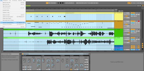 Schermata di esportazione progetto Ableton Live