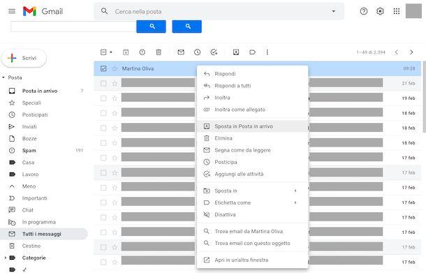 Posta archiviata Gmail Web