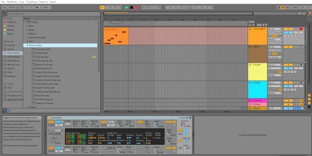 schermata di registrazione di uno strumento software su Ableton Live