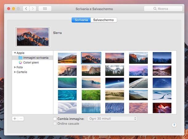 Sfondo predefinito Mac