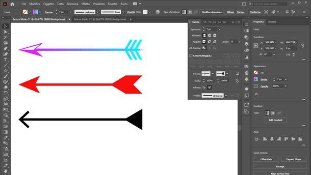 come disegnare frecce su illustrator