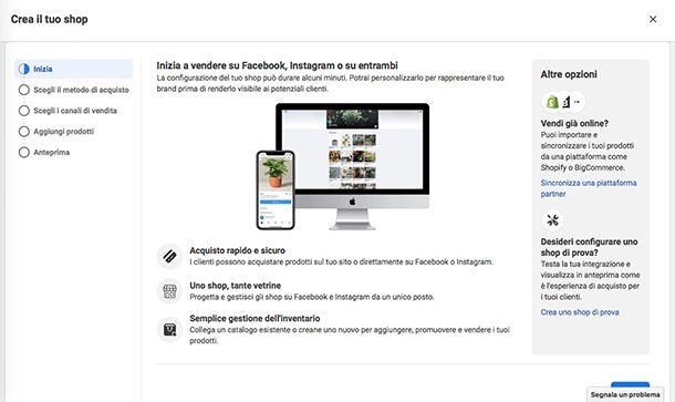 Come creare una Vetrina su Facebook e collegare Shopify