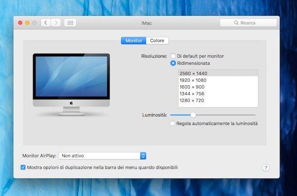 Risoluzione Mac