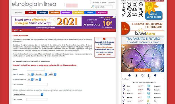 Come calcolare l'ascendente in modo corretto con Astrologia in linea