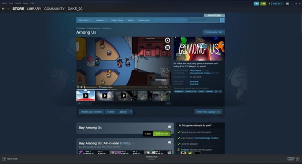 Installare Among Us su PC tramite Steam