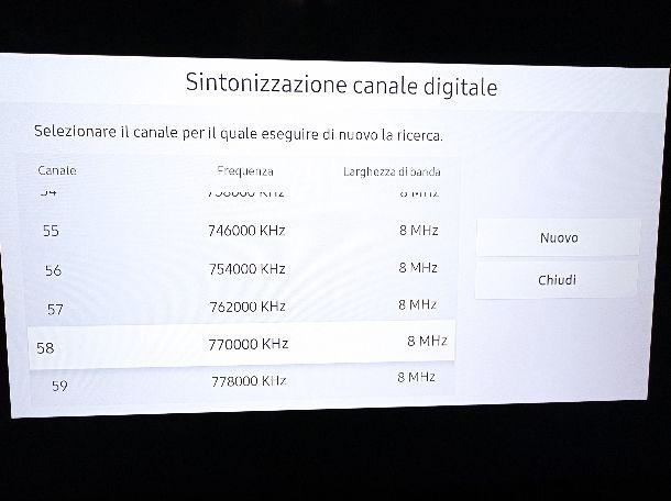 Sintonizzazione manuale Cielo TV Samsung