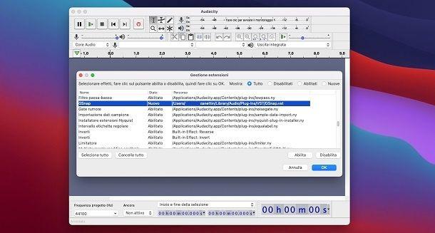 Installa GSnap Audacity Mac