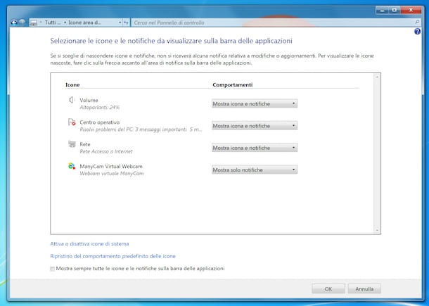 Icone area di notifica Windows 7