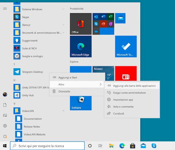 Aggiungere collegamenti barra applicazioni Windows 10