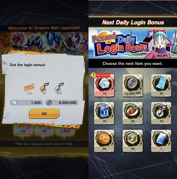 Bonus Login Dragon Ball Legends