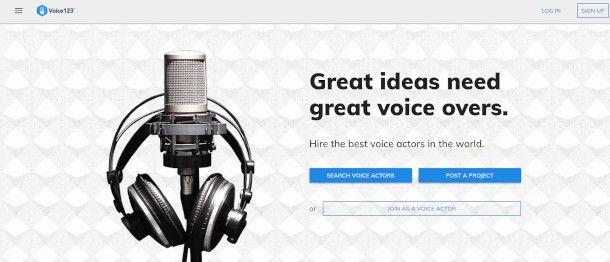 schermata principale voice123