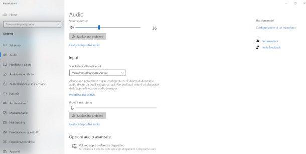 Impostazioni audio Windows