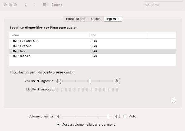 impostazioni audio macOS