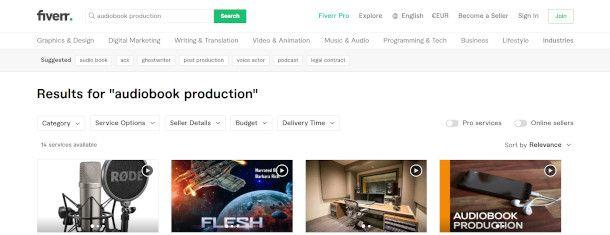 schermata ricerca fiverr