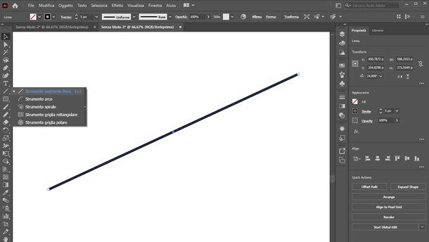 come disegnare una linea su illustrator