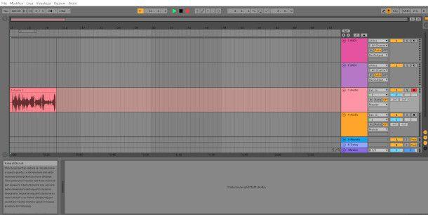 Schermata Ableton Live registrazione audio