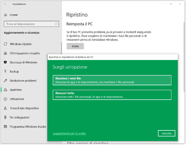 ripristinare Windows 10