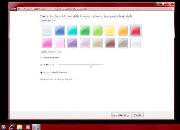 Cambiare colore barra applicazioni Windows 7
