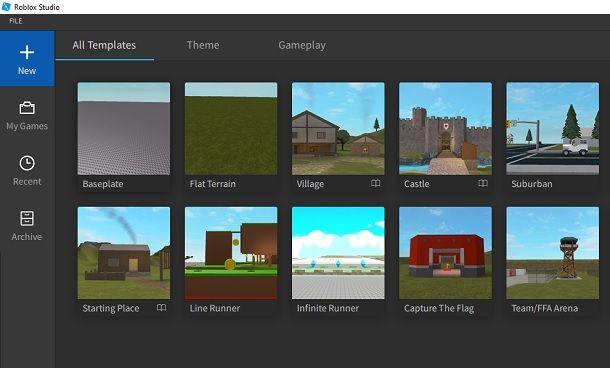 Crea nuovo progetto Roblox Studio