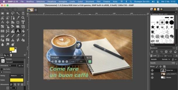 Aggiungere del testo in GIMP