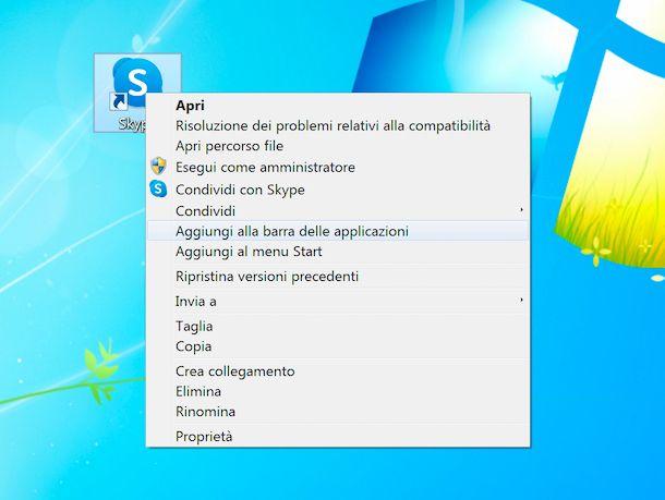 Icone collegamenti barra delle applicazioni Windows 7