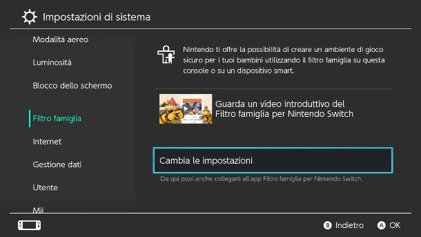 Impostazioni Nintendo Switch filtro famiglia