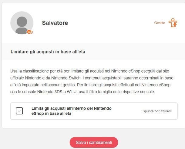 Impostazioni account Nintendo filtro famiglia