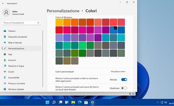 Cambiare colore barra Windows 11