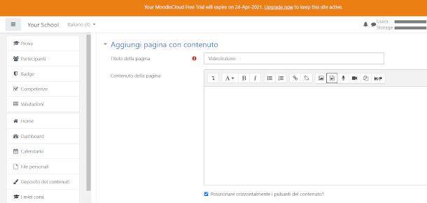 schermata pagina contenuto