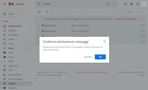 Svuotare cestino Gmail Web