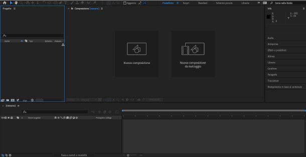 schermata nuova composizione after effects
