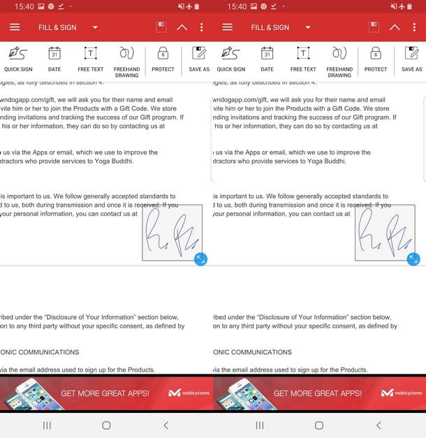 Posizionare e ridimensionare la firma su PDF Extra