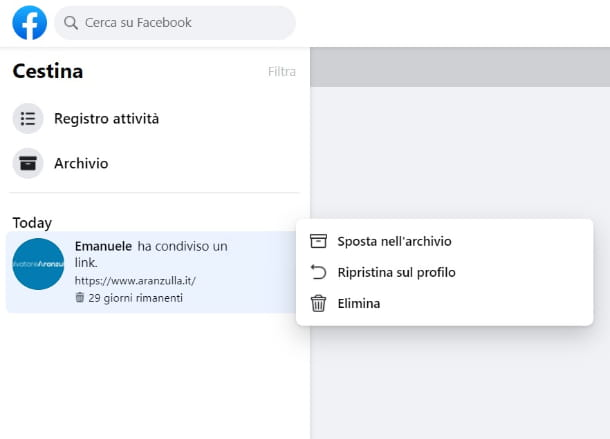 Recuperare post eliminato Facebook computer