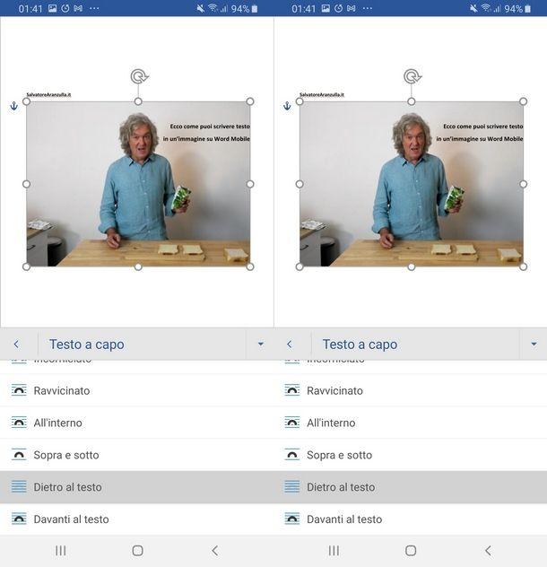 Usare l'app Word per inserire testo dentro immagini