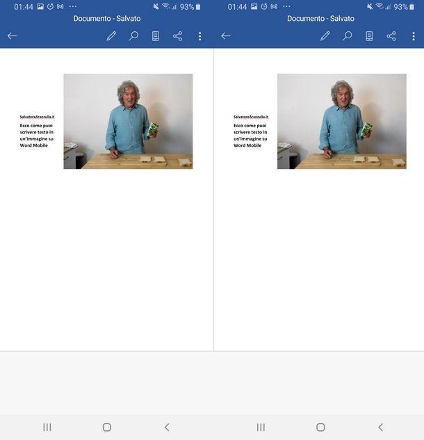 Posizionare il testo accanto a immagini con l'app Word