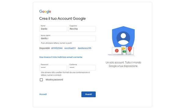 Compilare i dati richiesti per la creazione di un account Google