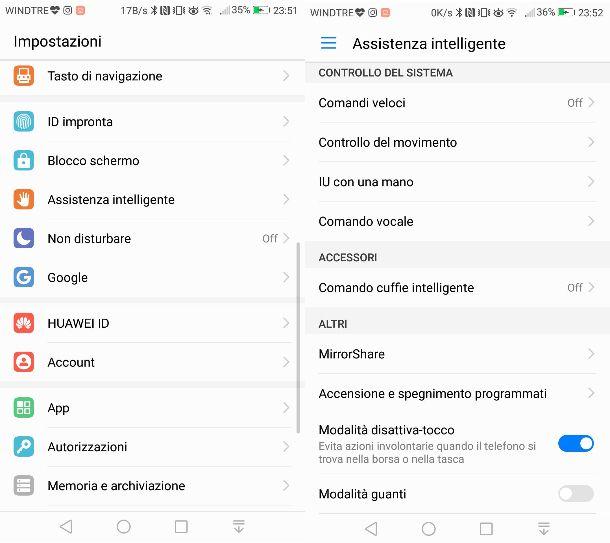 Modalità disattiva tocco Huawei