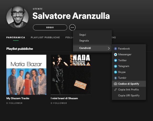 Codice Spotify computer