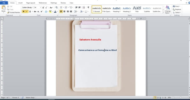 Usare il programma Microsoft Word per inserire testo su immagini