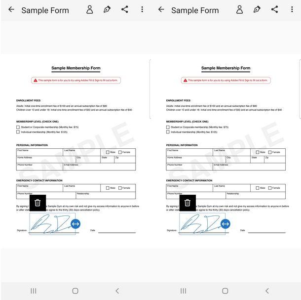 Firmare il documento e salvarlo sul cellulare