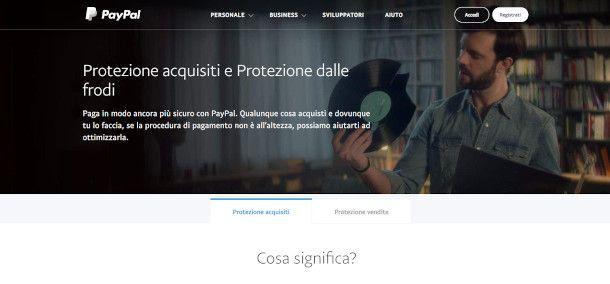 schermata Protezione acquisti PayPal