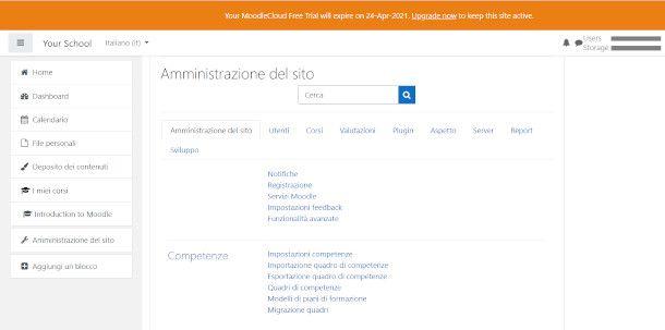 Moodle schermata amministrazione